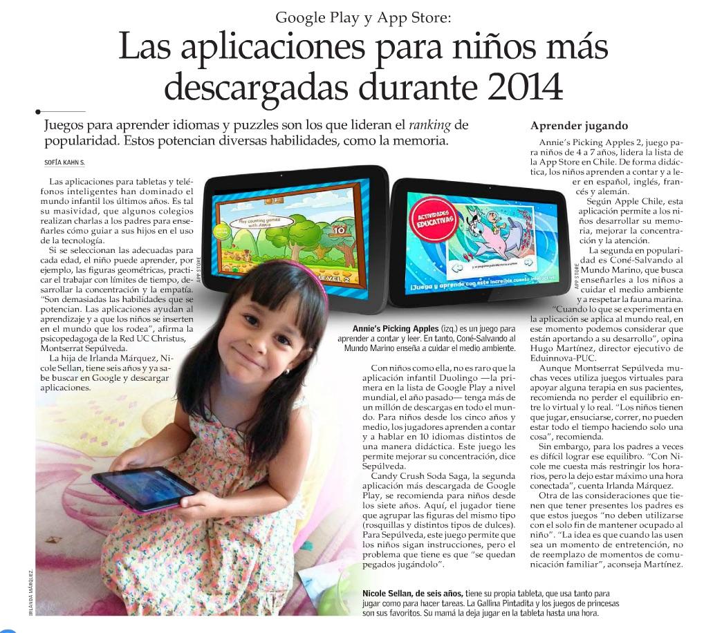 """Entrevista """"Aplicaciones para niños más descargadas el 2014"""""""